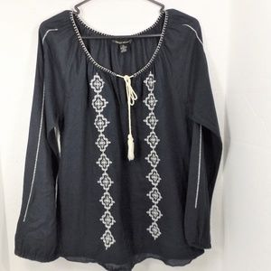 Lucky Brand Black Cotton Blouse w Embroidery M